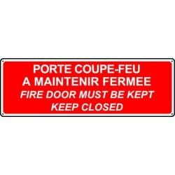 Panneau sécurité incendie PORTE COUPE-FEU (français/anglais)