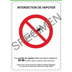 Panneau Interdiction de Vapoter