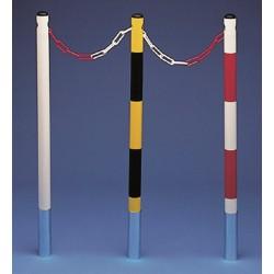 Poteaux acier à sceller - Blanc / rouge