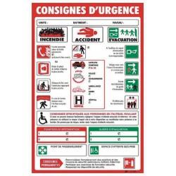 CONSIGNES D'URGENCE EN PVC M1 200 X 300 MM