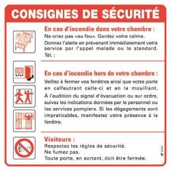 Consignes de sécurité pour chambres HOPITAUX, CLINIQUES, MAISONS DE RETRAITE