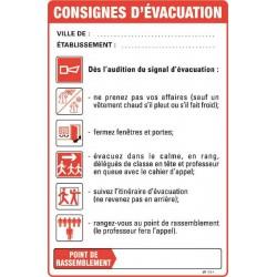 Consignes de sécurité D'EVACUATION ETABLISSEMENTS SCOLAIRES