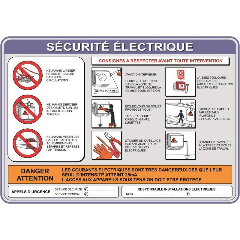 consigne securite electrique panosur. Black Bedroom Furniture Sets. Home Design Ideas