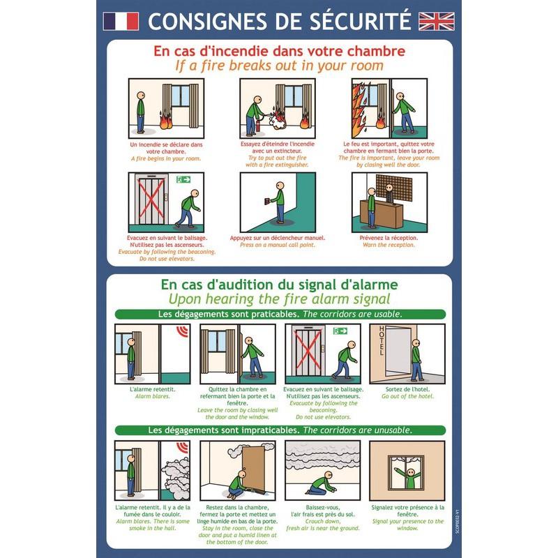 Consignes De Securite Bande Dessinee Hotel  Franais  Anglais
