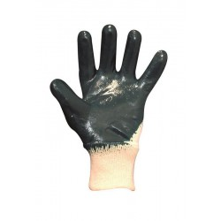 GANTS ENDUCTION NITRILE  BLEU SUR SUPPORT INTERLOCK