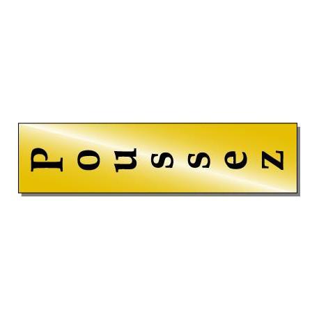 Plaque signalétique fond or, impression noire