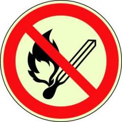 Panneau Flamme nues interdites photoluminescent