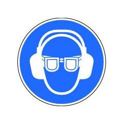 Panneau Obligation de porter des lunettes et un casque antibruit
