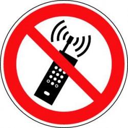 Panneau interdiction d'activer des téléphones mobiles