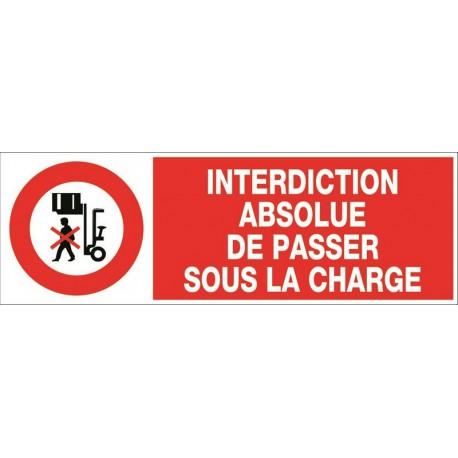 INTERDICTION ABSOLUE DE PASSER SOUS LA CHARGE + PICTO