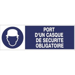 PANNEAU PORT D'UN CASQUE DE SECURITE OBLIGATOIRE + PICTO