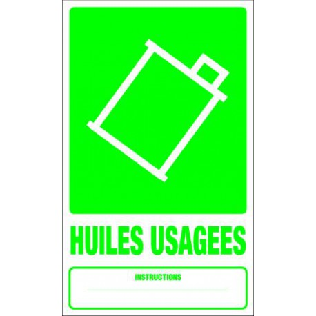Panneau recyclage HUILES USAGEES