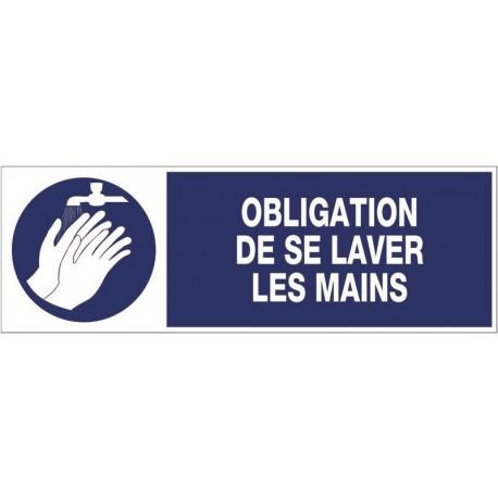 PANNEAU OBLIGATION DE SE LAVER LES MAINS + PICTO