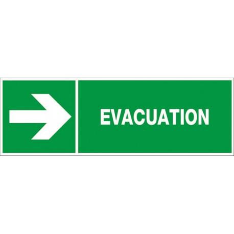 PANNEAU EVACUATION VERS LA DROITE + PICTO