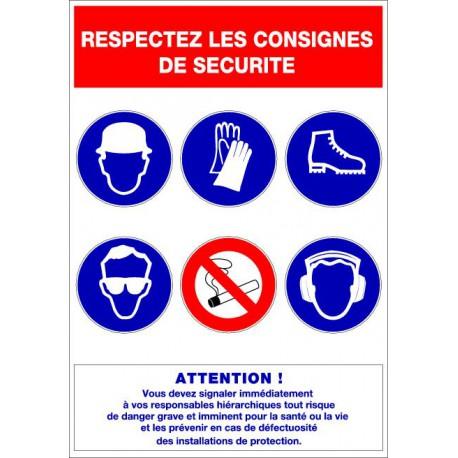 Panneau RESPECTEZ LES CONSIGNES DE SECURITE