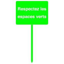 Panneau RESPECTEZ LES ESPACES VERTS sur piquet