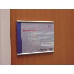 Plaque de porte en aluminium, façade en plexiglas pour affichage papier