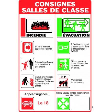 Consignes de sécurité SALLES DE CLASSE