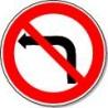 Panneau Interdit de tourner à gauche