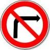 Panneau Interdit de tourner à droite