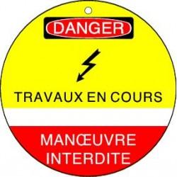 Plaquette de Condamnation Danger Travaux en cours