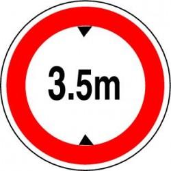 Panneau routier Accès interdit aux véhicules dont la hauteur, chargement compris, est supérieure au nombre indiqué