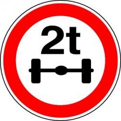 Panneau routier Accès interdit aux véhicules pesant sur un essieu plus que le nombre indiqué
