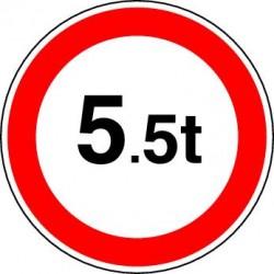 Panneau Accès interdit à tous les véhicules dont le poids total autorisé en charge excède le nombre indiqué
