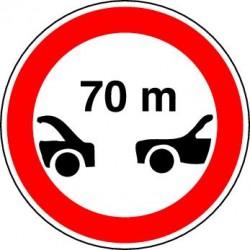 Panneaux alu Interdiction aux véhicules de circuler sans maintenir entre eux un intervalle au moins égal au nombre indiqué