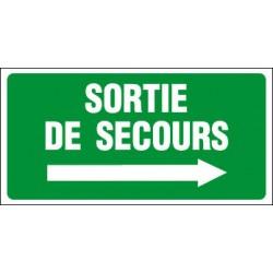 PANNEAU GRAND FORMAT SORTIE DE SECOURS + FLECHE VERS LA DROITE