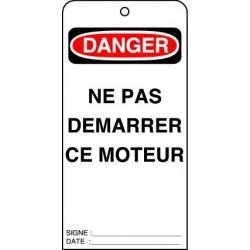 Etiquettes de Sécurité Danger Ne pas Démarrer ce Moteur