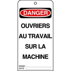 Etiquettes de Sécurité Danger Ouvriers  au Travail  sur la Machine