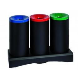 3 CORBEILLES ANTI-FEU TRI SELECTIF EN ACIER 3 X 70 L