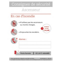 CONSIGNES DE SECURITE ASCENSEUR
