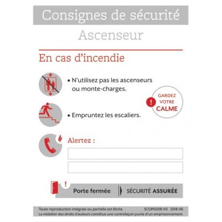 CONSIGNES DE SECURITE ASCENSEUR