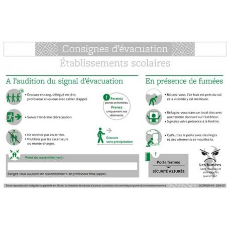 CONSIGNES D'EVACUATION ETABLISSEMENTS SCOLAIRES