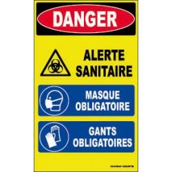 PANNEAU HAUTE VISIBILITE DANGER ALERTE SANITAIRE