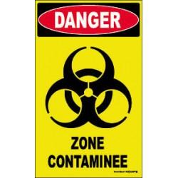 PANNEAU HAUTE VISIBILITE DANGER ZONE CONTAMINE