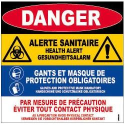 PANNEAU DANGER ALERTE SANITAIRE en Français - Anglais
