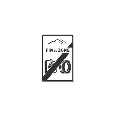 Panneau Sortie de zone d'obligation d'équipements en période hivernale