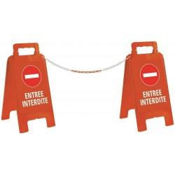 KIT 2 CHEVALETS ENTREE INTERDITE + 5 M DE CHAINE JAUNE/NOIRE