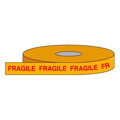 Rouleau adhésif en polypropylène, 100m x 50mm, vendu par lot de 6 identiques. Fond jaune sérigraphié rouge FRAGILE.