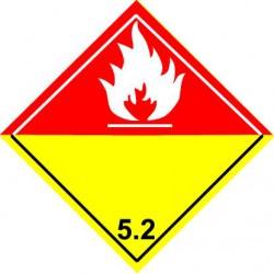 Etiquettes matières dangereuses en VELIN adhésif 100x100mm.