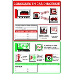 CONSIGNES EN CAS D'INCENDIE EN PVC 1 MM 200X300 MM