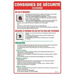 CONSIGNES DE SECURITE POUR CUISINE