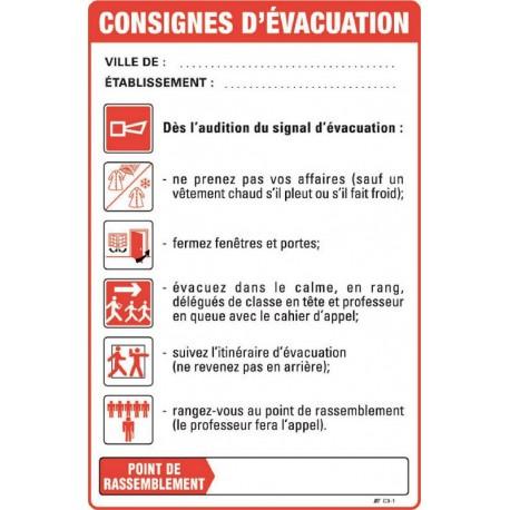CONSIGNES DE SECURITE D'EVACUATION SALLE DE CLASSE