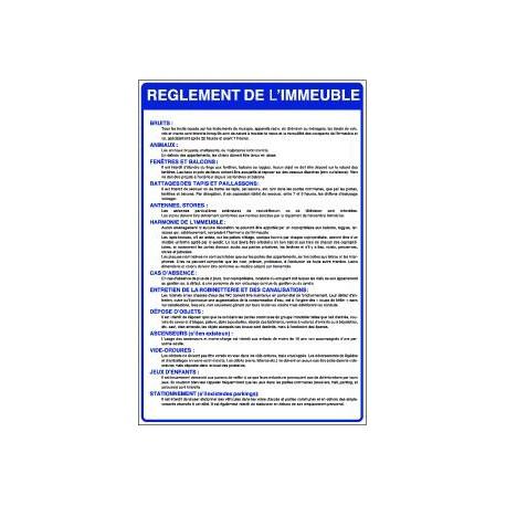 REGLEMENT DE L'IMMEUBLE» A PLACER DANS LE HALL DE L'IMMEUBLE