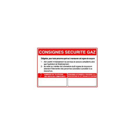 CONSIGNE SECURITE GAZ - COUPURE GAZ