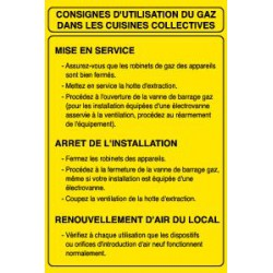 CONSIGNES D'UTILISATION DU GAZ DANS LES CUISINES COLLECTIVES