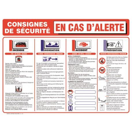 CONSIGNES DE SECURITE EN CAS D ALERTE - CAMPING - ACTIVITE PLEIN AIR